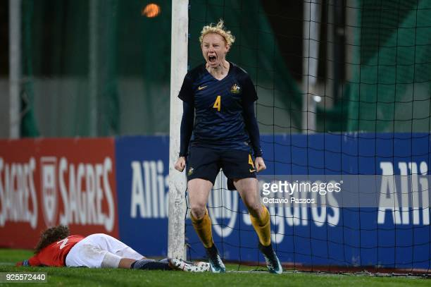 Clare Polkinghorne of Australia celebrates after scores the fourth goal during the Women's Algarve Cup Tournament match between Norway and Australia...