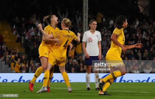 Clare Polkinghorne of Australia celebrates after she scores her sides first goal during the International Friendly between England Women and...