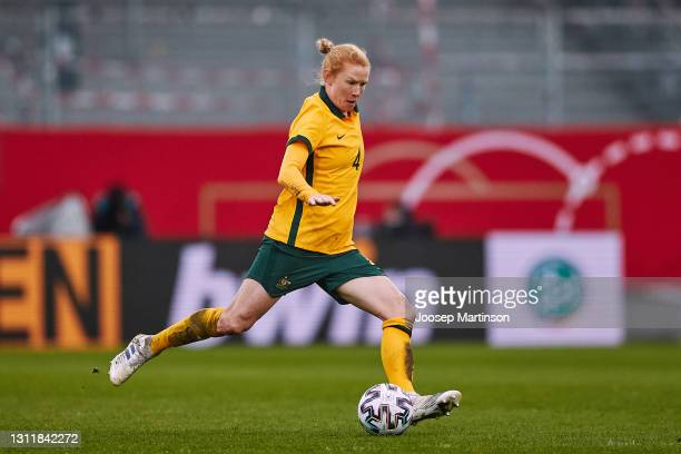 Clare Polkinghorne of Australia dribbles the ball during the Women's International Friendly match between Germany and Australia at BRITA-Arena on...
