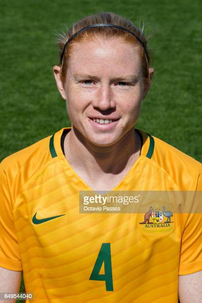 Clare Polkinghorne of Australia poses for a portrait prior the Women's Algarve Cup Tournament match between Australia and Denmark at Municipal de...