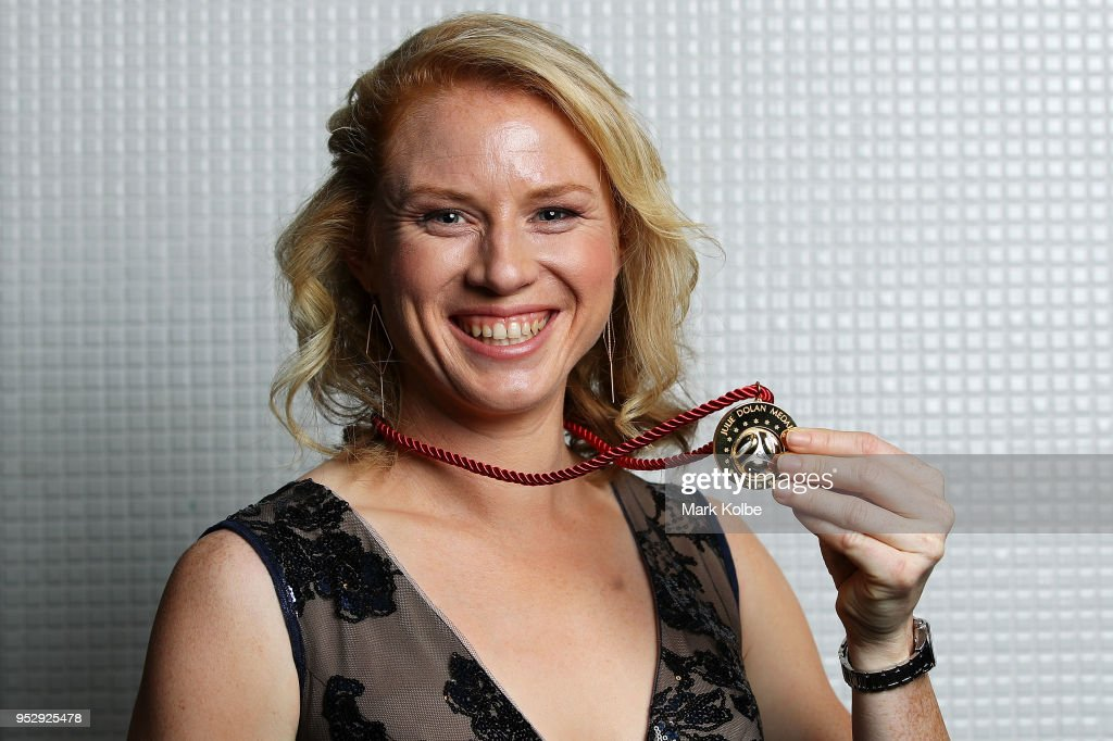 Clare Polkinghorne of the Brisbane Roar poses with the Julie Dolan Medal after being announced the joint winner with Sam Kerr of Perth Glory during the FFA Dolan Warren Awards at The Star on April 30, 2018 in Sydney, Australia.
