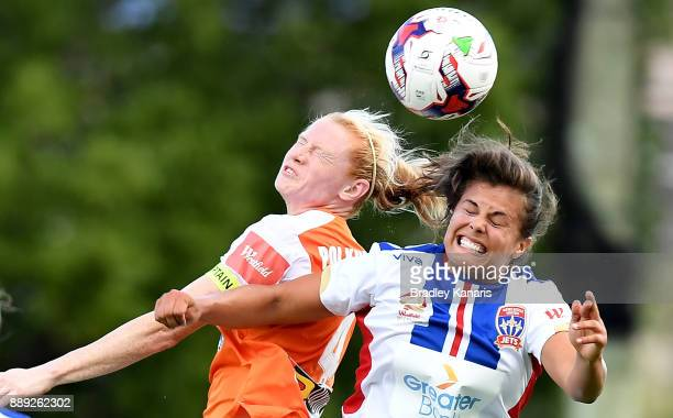 Clare Polkinghorne of the Roar and Katherine Stengel of the Jets challenge for the ball during the round seven WLeague match between the Brisbane...