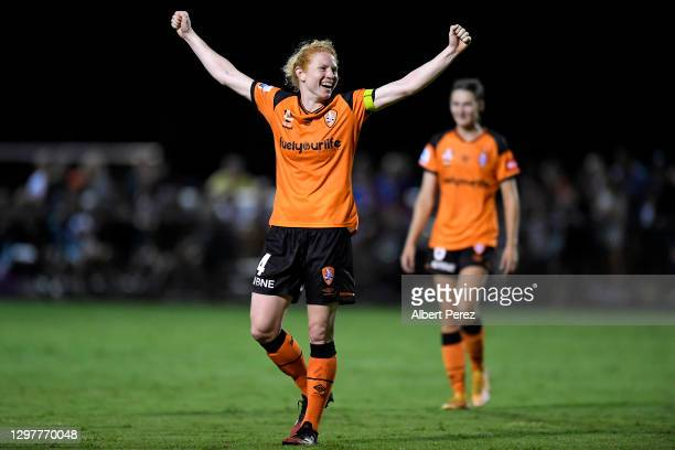 Clare Polkinghorne of the Roar celebrates after her team's victory during the round eight W-League match between the Brisbane Roar and the Melbourne...
