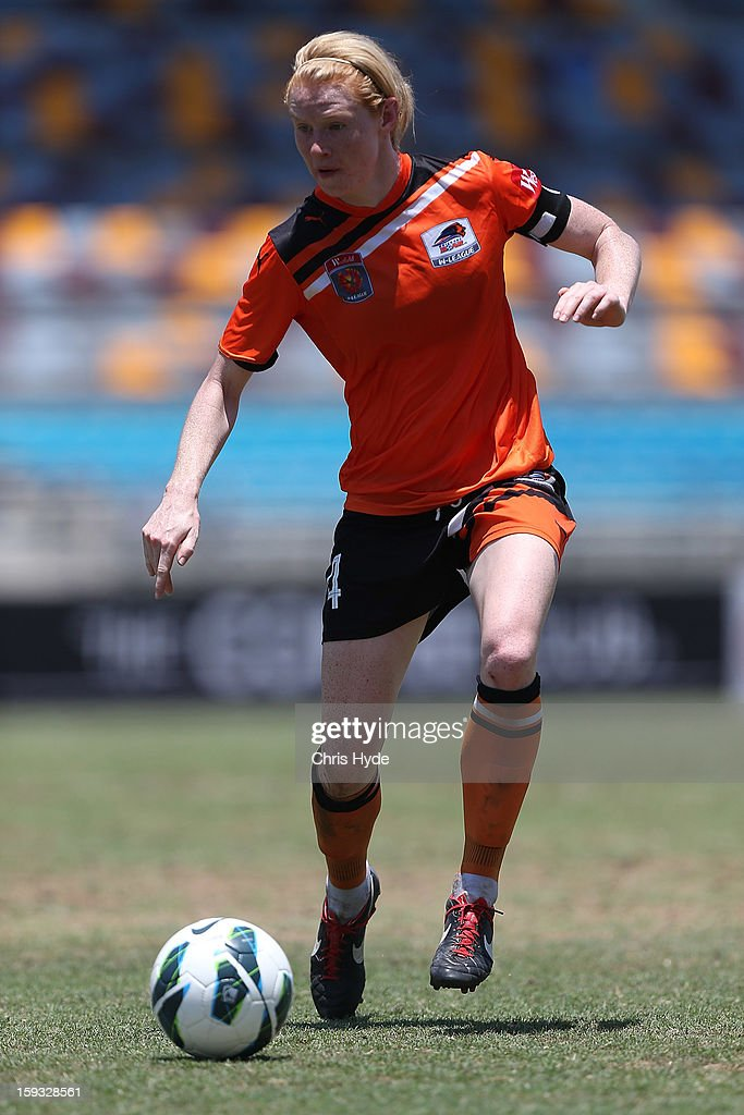 Clare Polkinhorne of the Roar controls the ball during the round 12 W-League match between the Brisbane Roar and Canberra United at Queensland Sport and Athletics Centre on January 12, 2013 in Brisbane, Australia.
