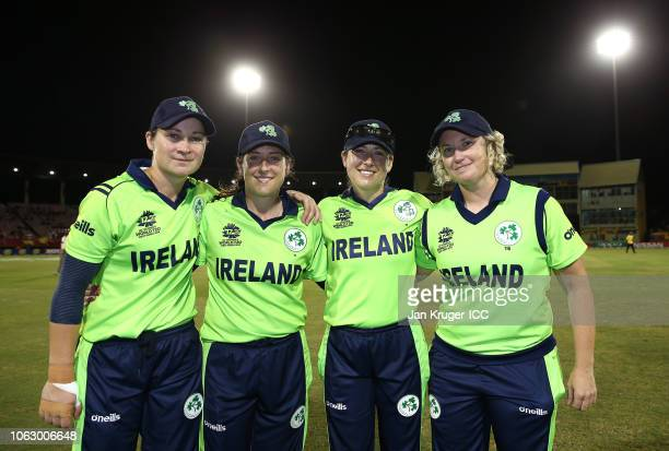 Clare Shillington Isobel Joyce Cecelia Joyce and Ciara Metcalfe pose following the announcement of their retirement during the ICC Women's World T20...