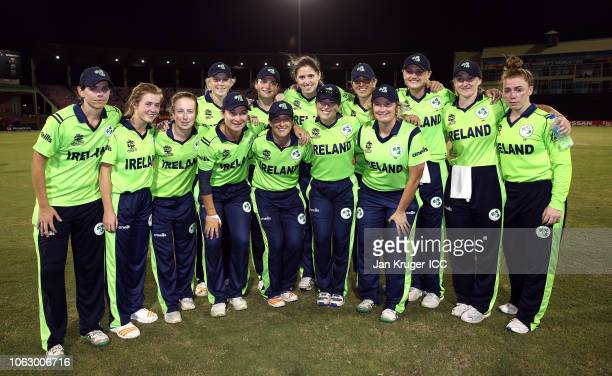 Clare Shillington Isobel Joyce Cecelia Joyce and Ciara Metcalfe pose with team mates following the announcement of their retirement during the ICC...