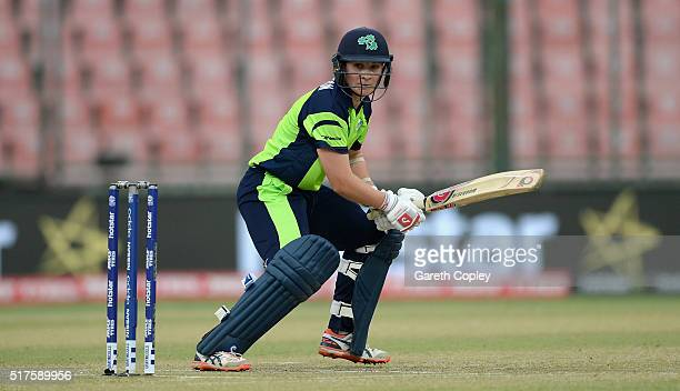 Clare Shillington of Ireland bats during the Women's ICC World Twenty20 India 2016 match between Australia and Ireland at Feroz Shah Kotla Ground on...