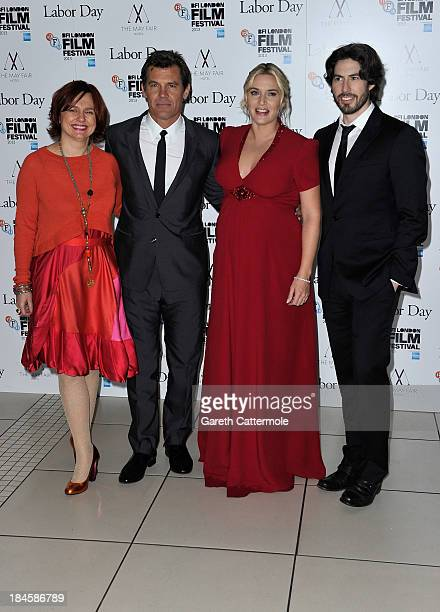 Clare Stewart actors Josh Brolin Kate Winslet and director Jason Reitman attend the Mayfair Gala European Premiere of 'Labor Day' during the 57th BFI...