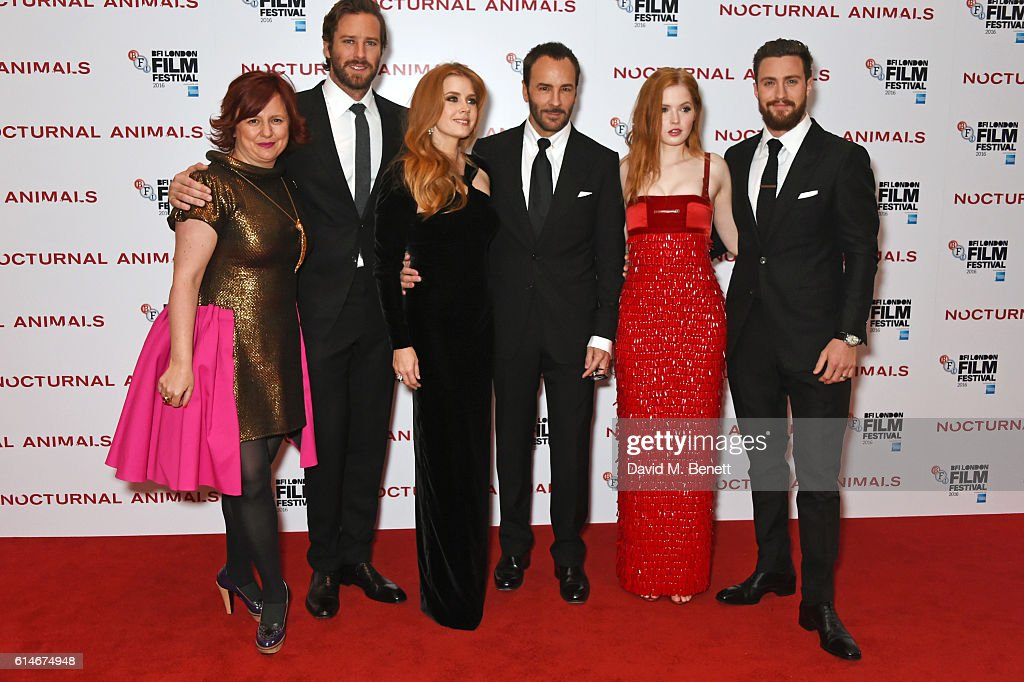 Clare Stewart, Director of the BFI London Film Festival, Armie Hammer, Amy Adams, Tom Ford, Ellie Bamber and Aaron Taylor-Johnson attend the 'Nocturnal Animals' Headline Gala screening during the 60th BFI London Film Festival at Odeon Leicester Square on October 14, 2016 in London, England.