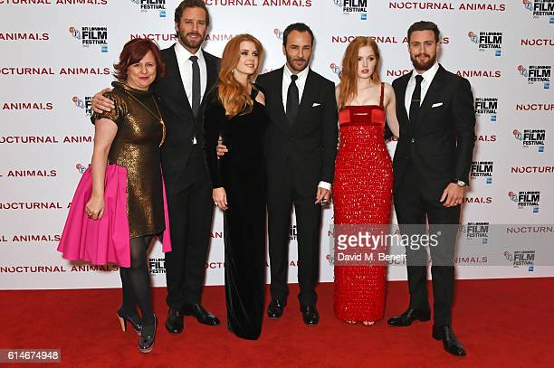 Clare Stewart, Director of the BFI London Film Festival, Armie Hammer, Amy Adams, Tom Ford, Ellie Bamber and Aaron Taylor-Johnson attend the...