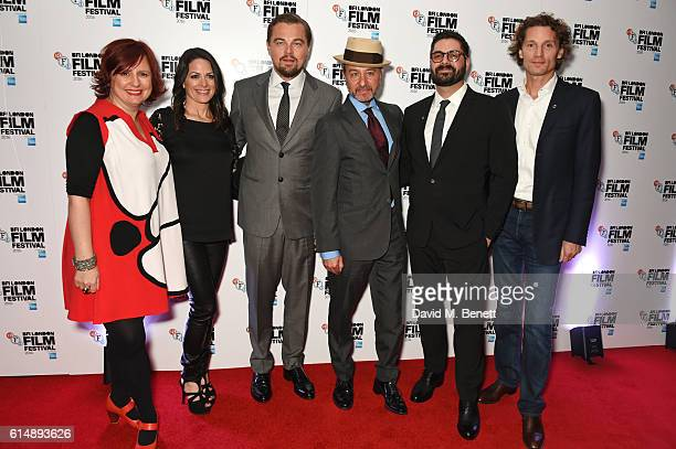 Clare Stewart Director of the BFI London Film Festival Courteney Monroe Leonardo DiCaprio director Fisher Stevens Tim Pastore and Jan Koeppen attend...