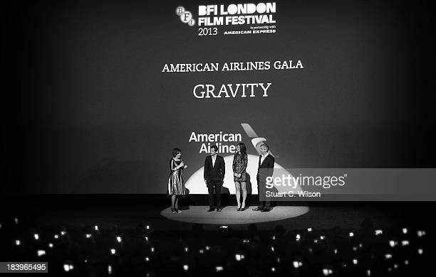 Clare Stewart, Sandra Bullock, Alfonso Cuaron and David Heyman attend the 'Gravity' Gala Premiere during the 57th BFI London Film Festival at the...