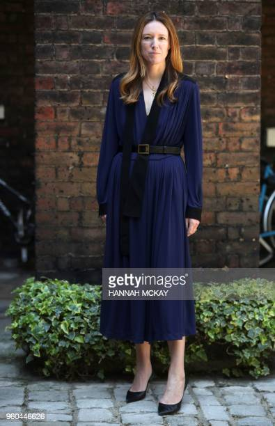 Clare Waight Keller a fashion designer at Givenchy poses following an interview at Kensington Palace in London on May 20 the day after Meghan Markle...