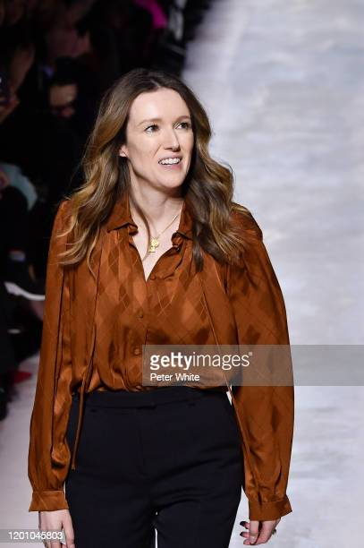 Clare Waight Keller acknowledges the applause of the public after the Givenchy Haute Couture Spring/Summer 2020 show as part of Paris Fashion Week on...