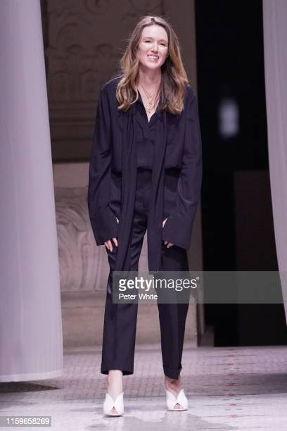 Clare Waight Keller acknowledges the audience at the end of the Givenchy Haute Couture Fall/Winter 2019 2020 show as part of Paris Fashion Week on...