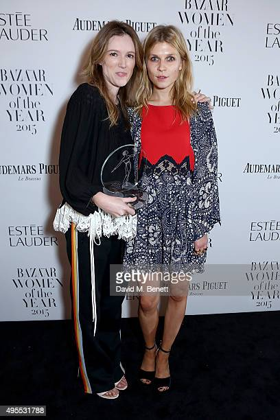 Clare Waight Keller and Clemence Poesy attend the Harper's Bazaar Women of the Year Awards 2015 at Claridges Hotel on November 3 2015 in London...