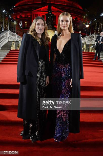 Clare Waight Keller and Rosie HuntingtonWhiteley arrive at The Fashion Awards 2018 in partnership with Swarovski at the Royal Albert Hall on December...