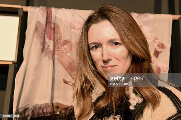Clare Waight Keller appears with the scarf she created with artist Jenny Saville at House of Voltaire opening in Mayfair supported by Chloe on...