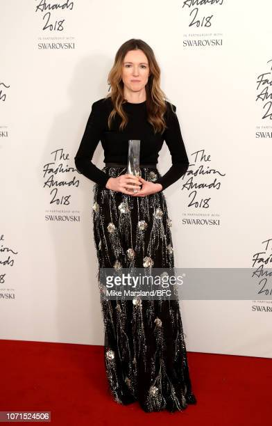 Clare Waight Keller for Givenchy winner of British Designer of The Year Womenswear award in the winners room during The Fashion Awards 2018 In...