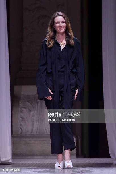 Clare Waight Keller on the runway during the Givenchy Haute Couture Fall/Winter 2019 2020 show as part of Paris Fashion Week on July 02, 2019 in...