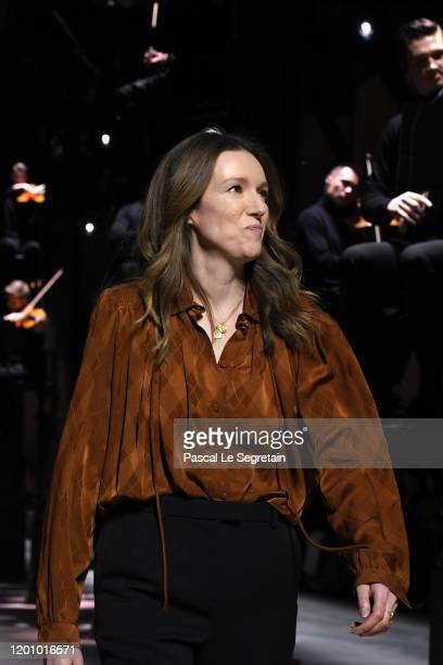 Clare Waight Keller on the runway for the finale of the Givenchy Haute Couture Spring/Summer 2020 show as part of Paris Fashion Week on January 21,...