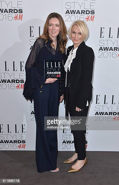 Clare Waight Keller poses with her award for Editor's Choice of The Year with Lorraine Candy in the winners room at The Elle Style Awards 2016 on...