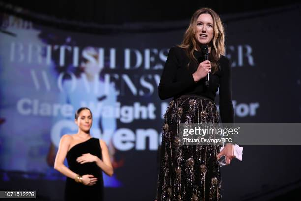 Clare Waight Keller speaks on stage after winning the British Designer of the Year Womenswear Award for Givenchy during The Fashion Awards 2018 In...