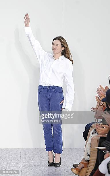 Clare Waight Keller walks the runway during Chloe Fall/Winter 2013 ReadytoWear show as part of Paris Fashion Week on March 3 2013 in Paris France