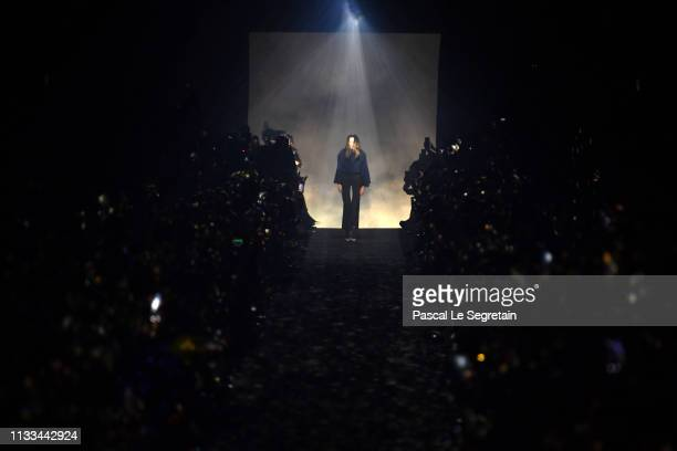 Clare Waight Keller walks the runway during the finale of the Givenchy show as part of the Paris Fashion Week Womenswear Fall/Winter 2019/2020 on...