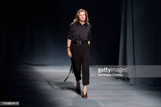 Clare Waight Keller walks the runway during the Givenchy show as part of the Paris Fashion Week Womenswear Spring/Summer 2019 on September 30 2018 in...