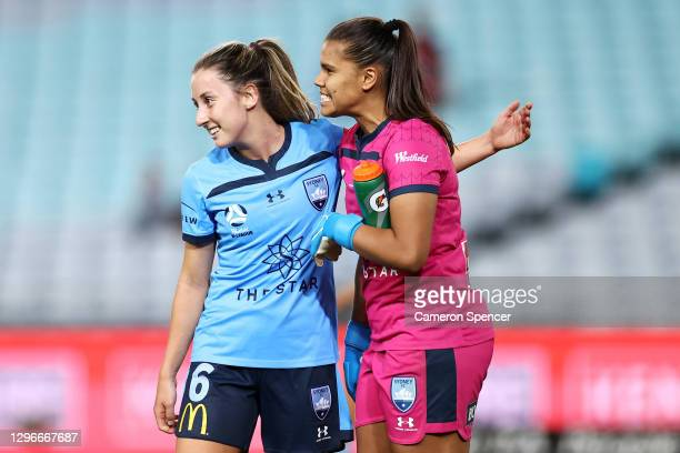 Clare Wheeler and Jada Whyman of Sydney FC celebrate winning the round four W-League match between Sydney FC and the Western Sydney Wanderers at ANZ...