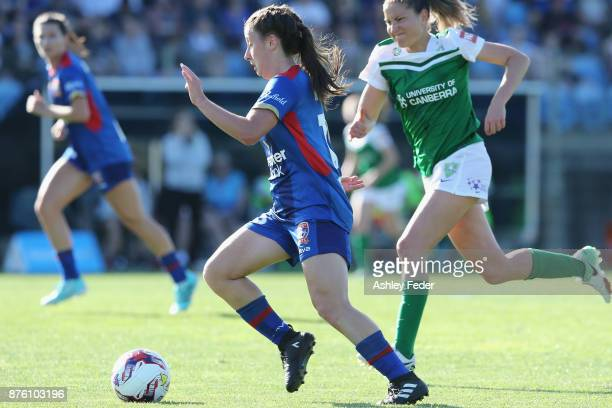 Clare Wheeler of the Jets in action during the round four WLeague match between Newcastle and Canberra on November 19 2017 in Newcastle Australia