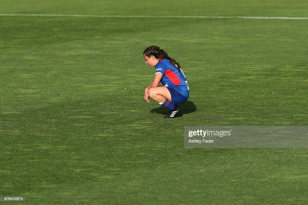 Clare Wheeler of the Jets looks dejected after losing during the round four W-League match between Newcastle and Canberra on November 19, 2017 in Newcastle, Australia.