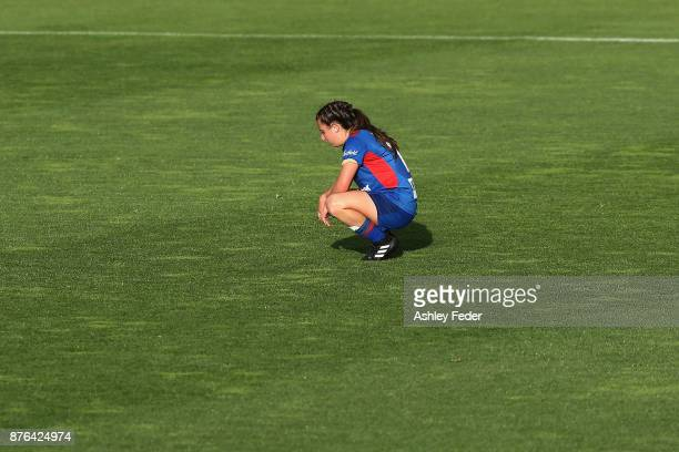 Clare Wheeler of the Jets looks dejected after losing during the round four WLeague match between Newcastle and Canberra on November 19 2017 in...