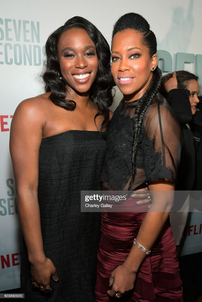 Clare-Hope Ashitey (L) and Regina King attend Netflix's 'Seven Seconds' Premiere screening and post-reception in Beverly Hills, CA on February 23, 2018 in Beverly Hills, California.