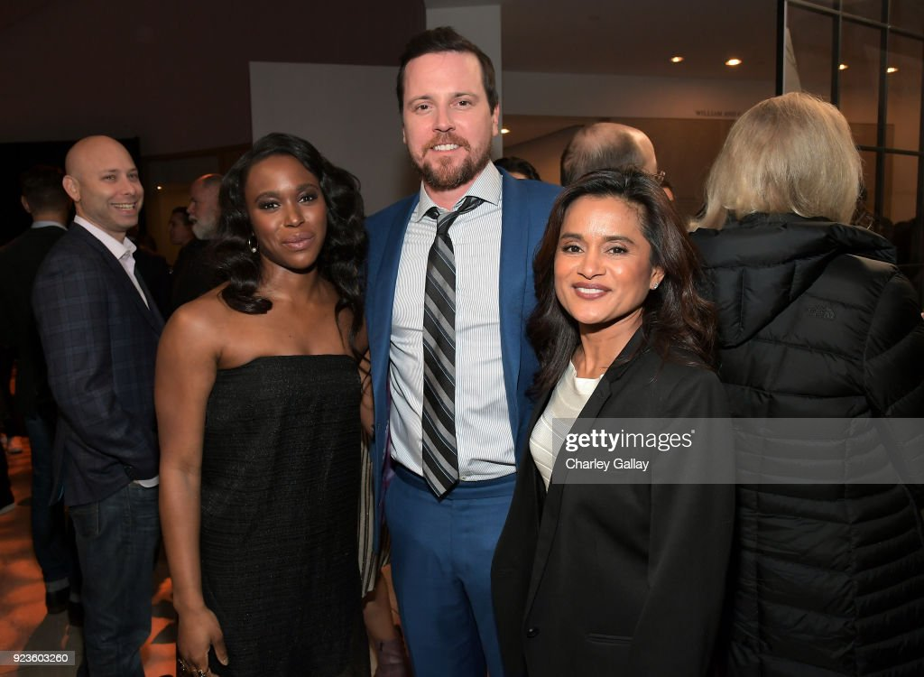 Clare-Hope Ashitey, Michael Mosley, and Veena Sud attend Netflix's 'Seven Seconds' Premiere screening and post-reception in Beverly Hills, CA on February 23, 2018 in Beverly Hills, California.