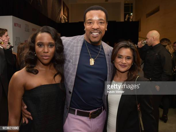 ClareHope Ashitey Russell Hornsby and Veena Sud attend the premiere of Netflix's 'Seven Seconds' at The Paley Center for Media on February 23 2018 in...