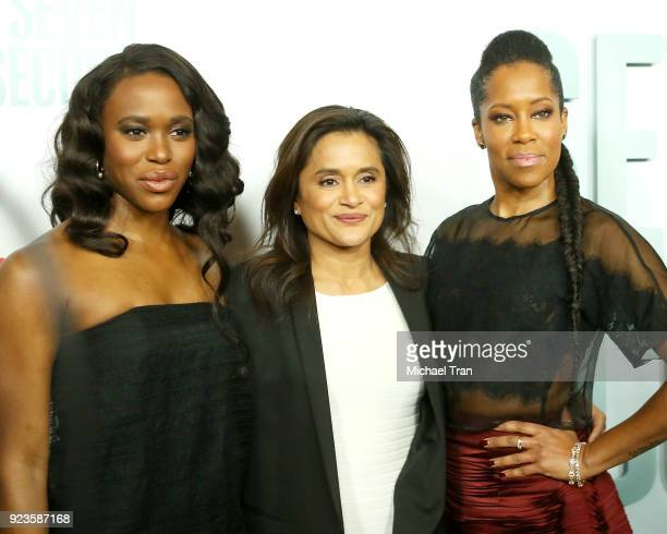 ClareHope Ashitey Veena Sud and Regina King arrive to the Los Angeles premiere of Netflix's 'Seven Seconds' held at The Paley Center for Media on...