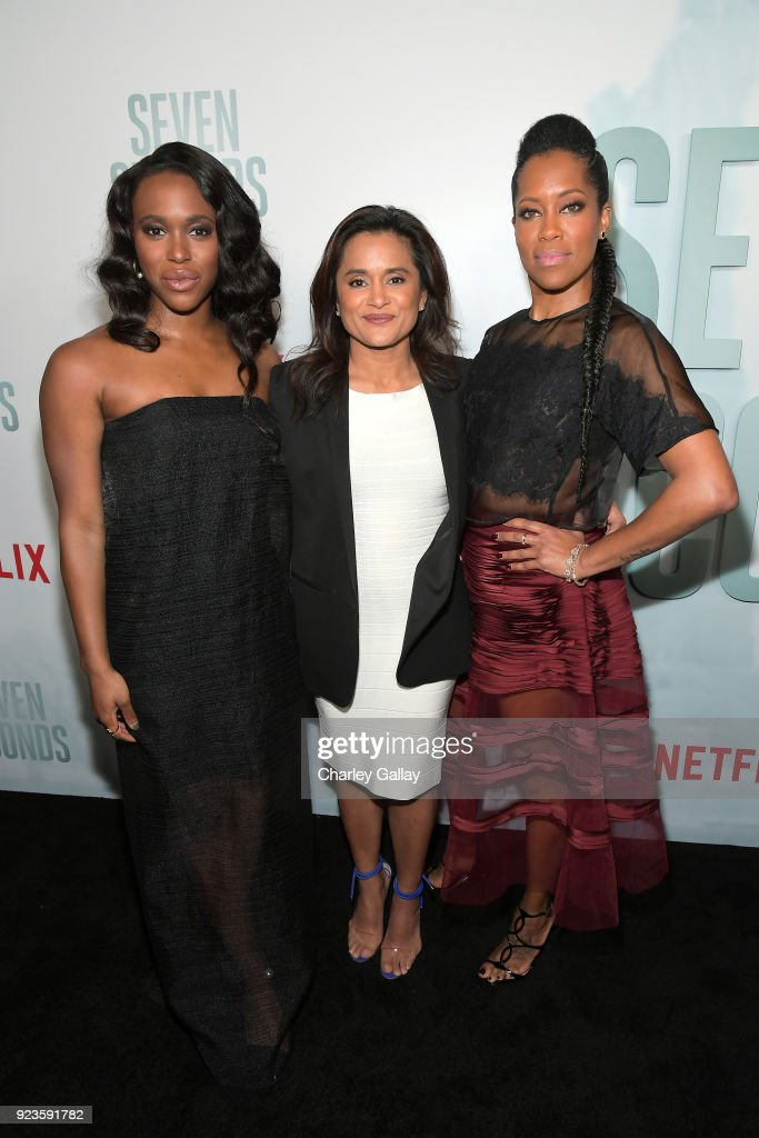 Clare-Hope Ashitey, Veena Sud, and Regina King attend Netflix's 'Seven Seconds' Premiere screening and post-reception in Beverly Hills, CA on February 23, 2018 in Beverly Hills, California.