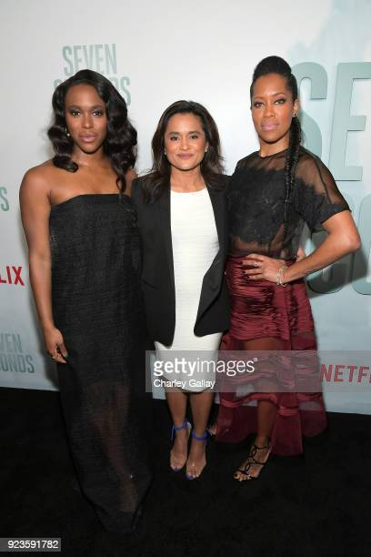 ClareHope Ashitey Veena Sud and Regina King attend Netflix's 'Seven Seconds' Premiere screening and postreception in Beverly Hills CA on February 23...