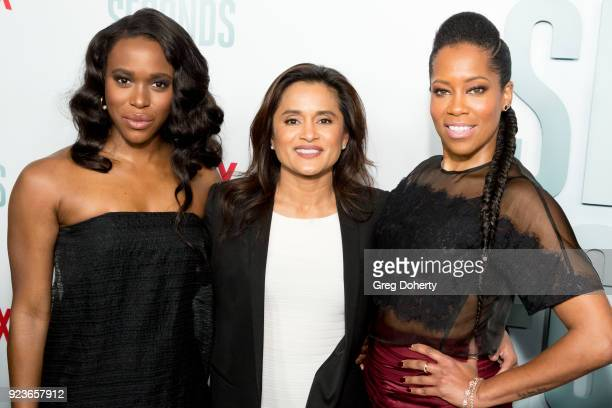 ClareHope Ashitey Veena Sud and Regina King attend the Premiere Of Netflix's 'Seven Seconds' at The Paley Center for Media on February 23 2018 in...