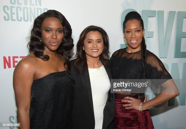ClareHope Ashitey Veena Sud and Regina King attends the premiere of Netflix's 'Seven Seconds' at The Paley Center for Media on February 23 2018 in...