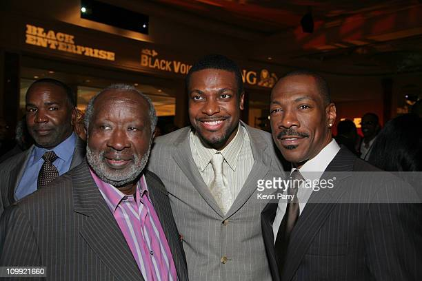 Clarence Avant Chris Tucker and Eddie Murphy during Black Enterprise Top 50 Hollywood Power Brokers List Party Inside at Beverly Wilshire Four...