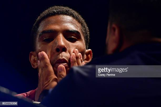 Clarence Booth has vaseline applied before fighting Anthony Mercado before a super lightweight bout at the Sands Bethlehem Event Center on June 27,...