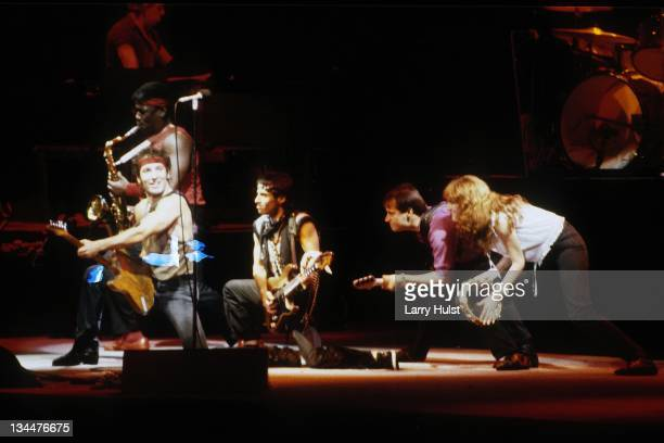 Clarence Clemons Bruce Springsteen Nils Lofgren and Garry Tallent and Patti Scialfa performing with 'Bruce Springsteen and the E Steet Band' at the...
