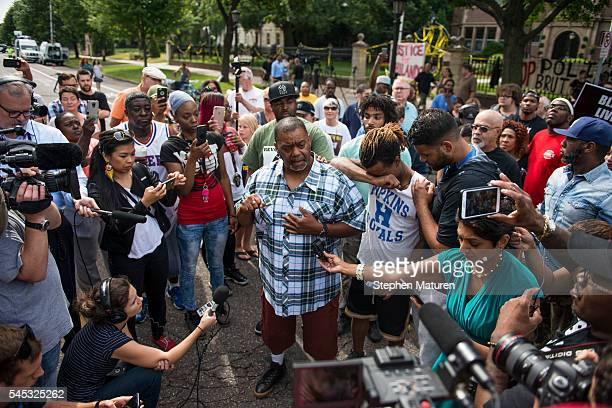 Clarence D Castile uncle of Philando Castile speaks outside the Governor's Mansion following the police shooting death of a black man on July 7 2016...