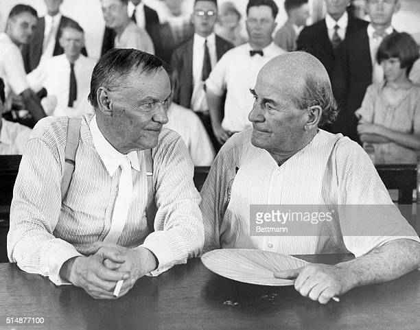 Clarence Darrow a famous Chicago lawyer and William Jennings Bryan defender of Fundamentalism have a friendly chat in a courtroom during the Scopes...