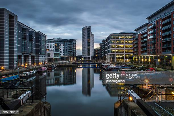 Clarence dock at dusk, Leeds, England, UK