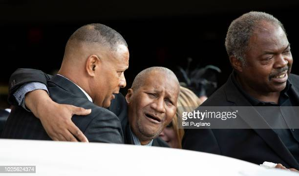 Clarence Franklin son of soul music icon Aretha Franklin mourns for his mother outside Greater Grace Temple at the end of her funeral August 31 2018...
