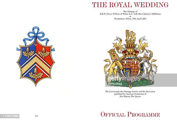 Clarence House handout photo issued April 19 of the front and back covers of the official souvenir wedding programme for the wedding of Prince...